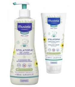 Mustela Stelatopia Cleansing Cream 500ml + Emollient Cream 200ml